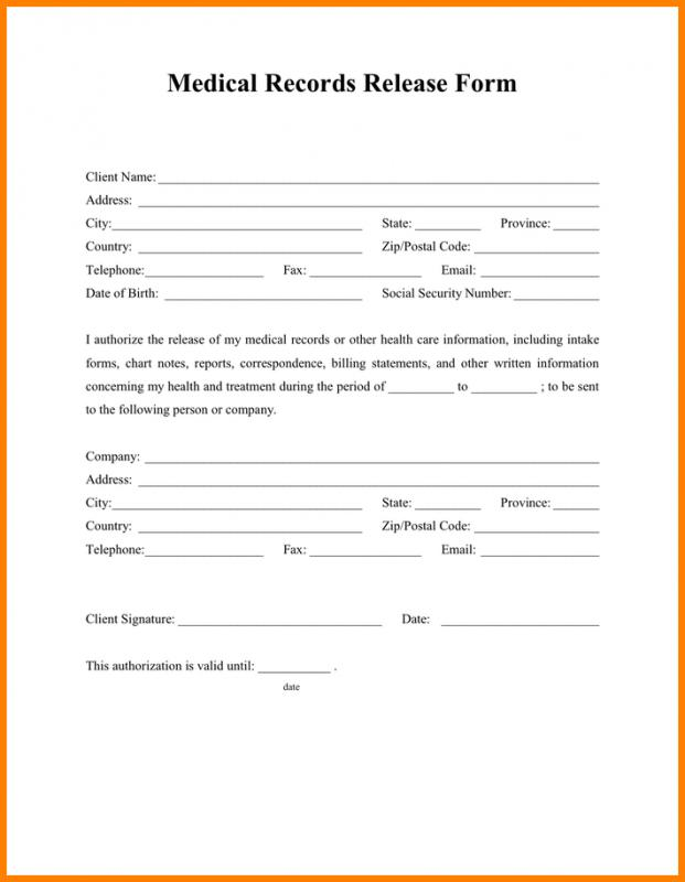 Medical Release Form Template Business - medical release of information form template