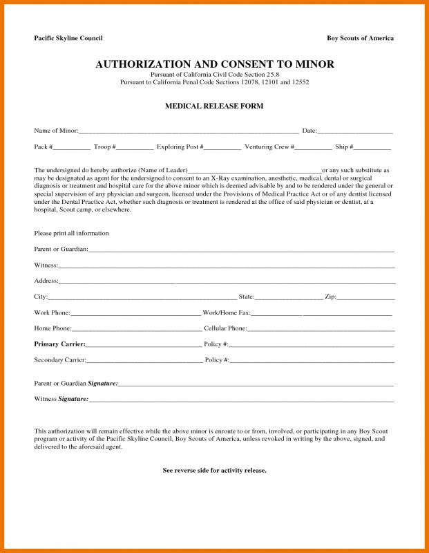Medical Release Form For Child Template Business
