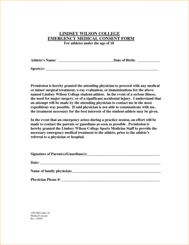 Medical Release Form For Grandparents Template Business