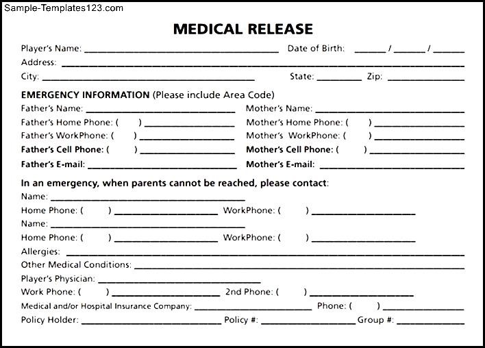 Medical Release Form Template Business - Medical Information Release Form