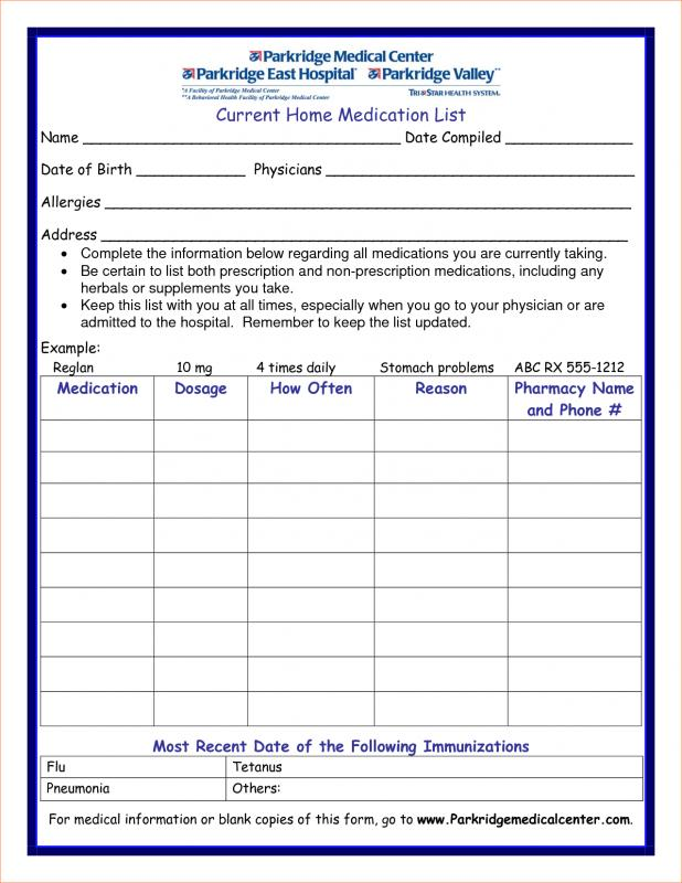 Medication List Template Template Business