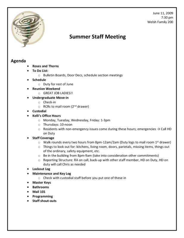 Meeting Agenda Template Doc Template Business