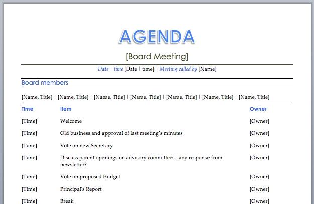 word template meeting agenda - Jolivibramusic