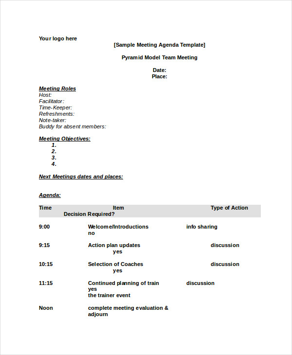 Meeting Agenda Template Word Template Business