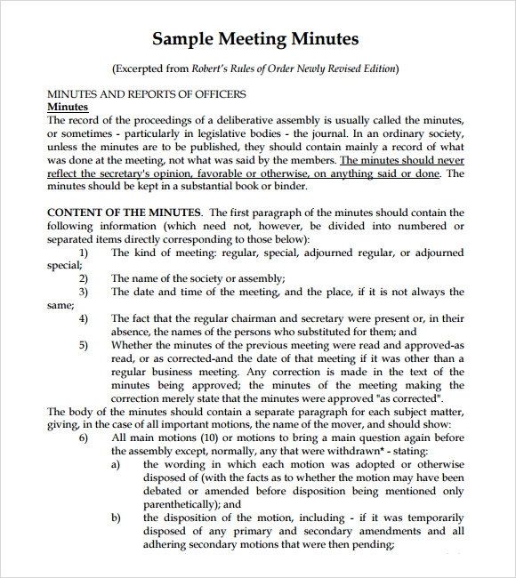 Sample Meeting Summary Template Meeting Notes Template Meeting