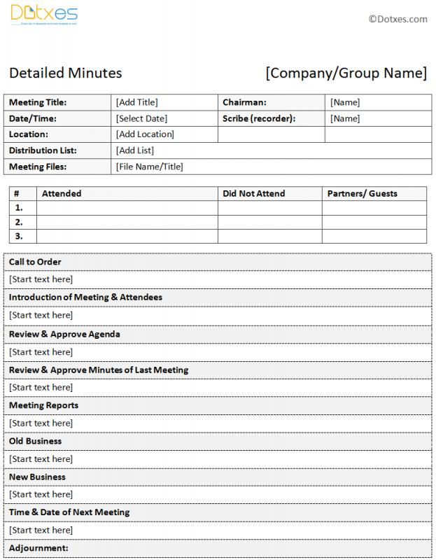Meeting Minutes Notes Template colbro