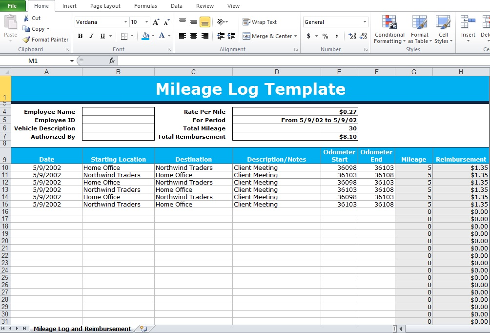 Mileage Log Form Template Business