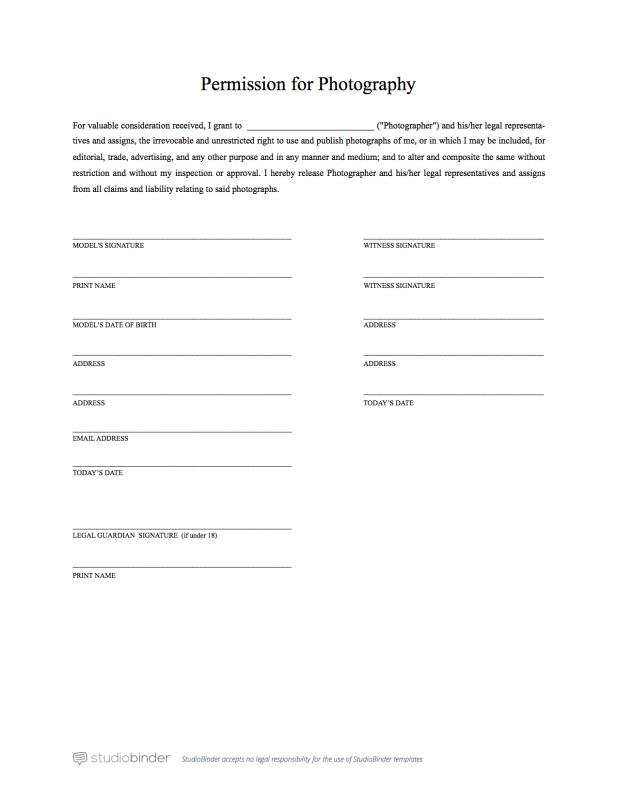 Model Release Form Template Business - legal release form template