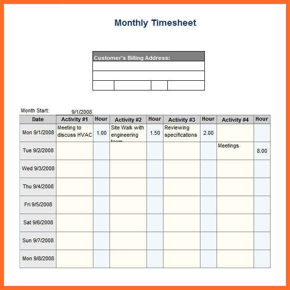 Monthly Timesheet Template Excel Template Business