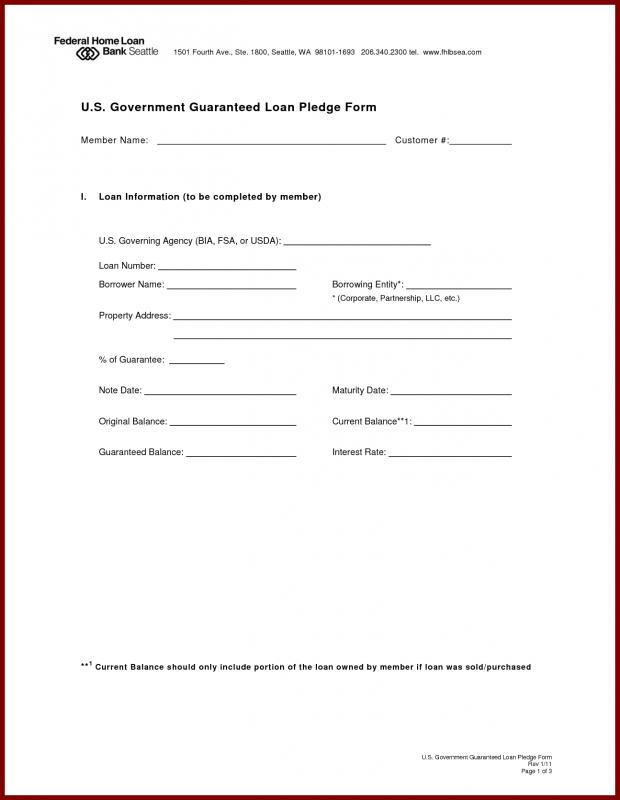 Mortgage Note Form Template Business