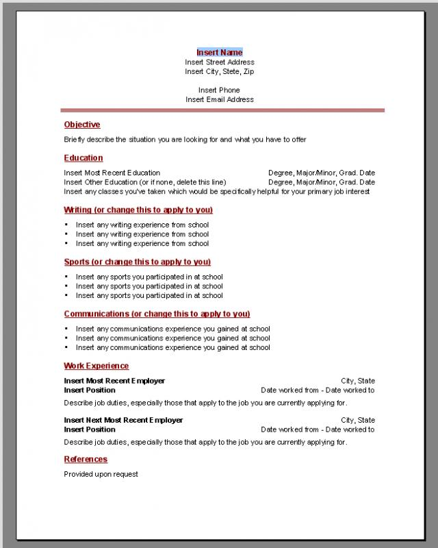 Ms Word Resumes Template Business