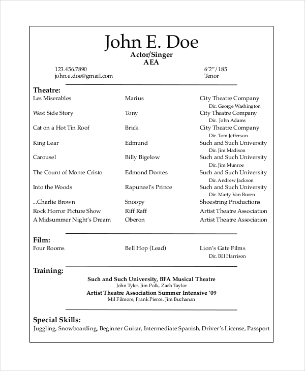 Musical Theatre Resume Template Template Business