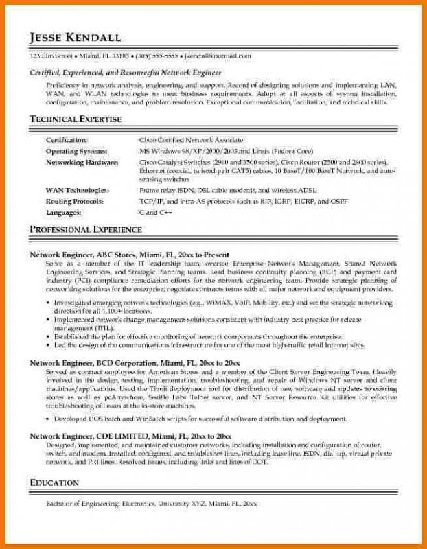Network Engineer Resume Template Business