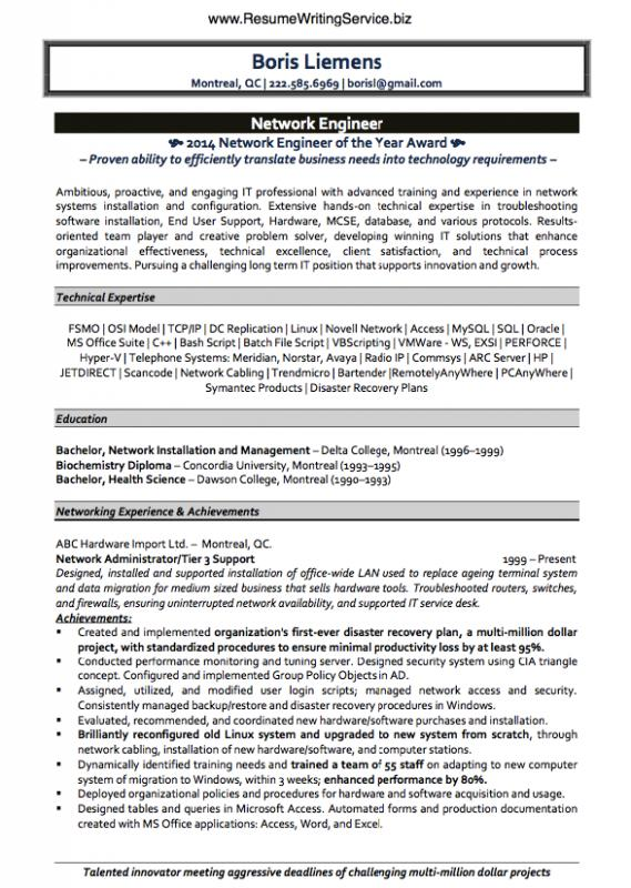Network Engineer Resume Template Business - resume samples for network engineer