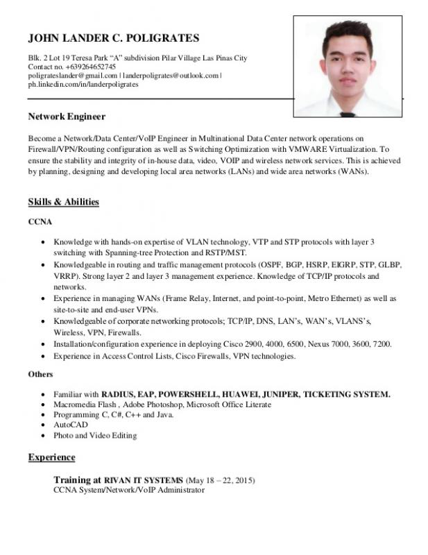 Network Engineer Resume Template Business