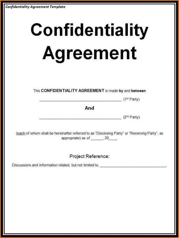 Non Disclosure Agreement Sample Template Business
