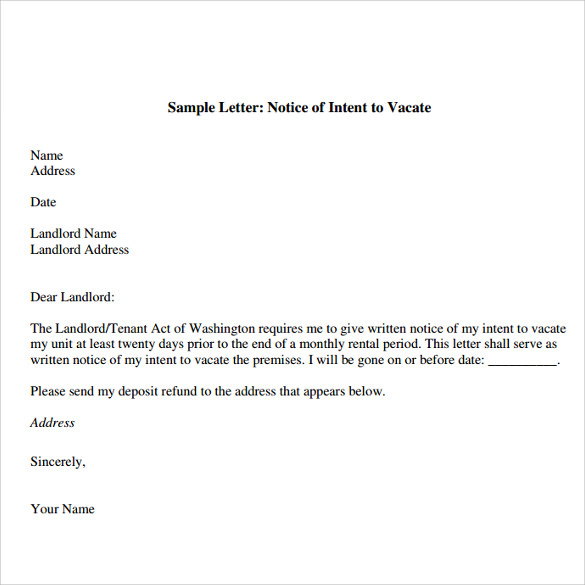 Notice Of Intent To Vacate Template Business Complaint Letter To
