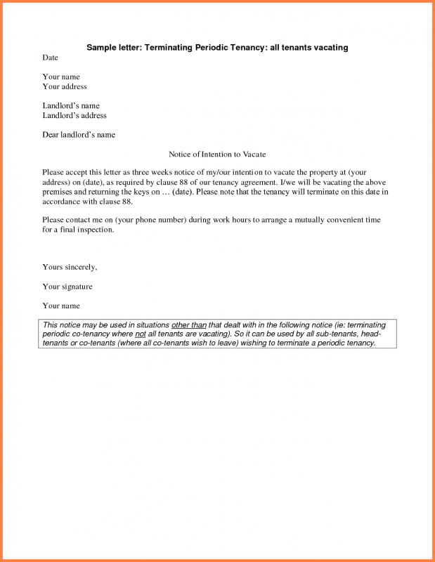 Notice To Vacate Form Template Business - notice to tenants template