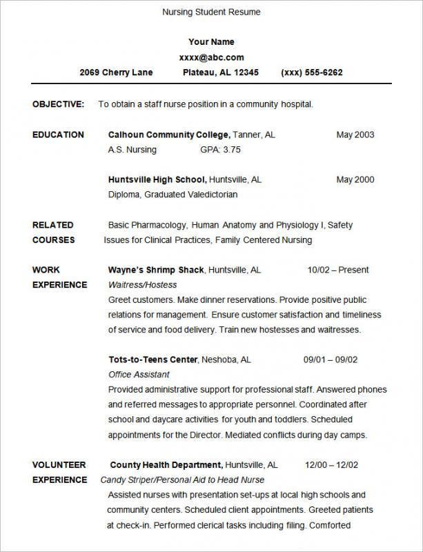 Nursing Student Resume Template Business