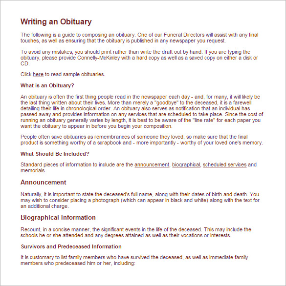 obituary template for newspaper - Intoanysearch