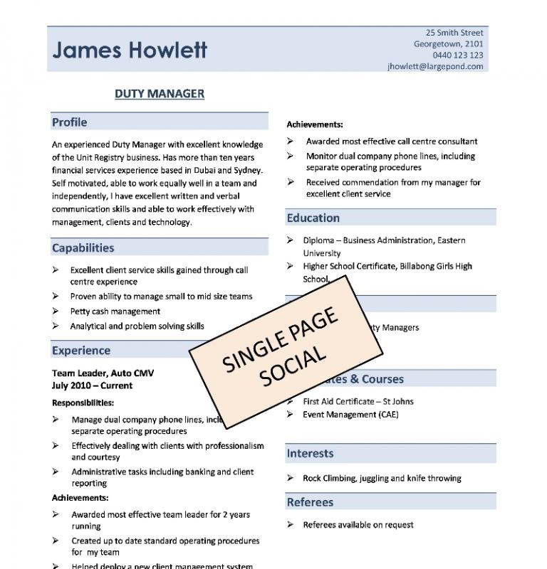 One Page Resume Template Template Business