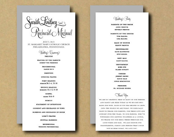 wedding program samples free