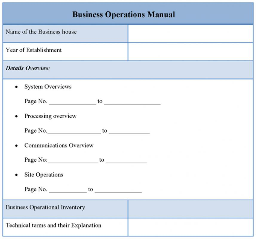 Operational Manual Template Template Business - business manual template