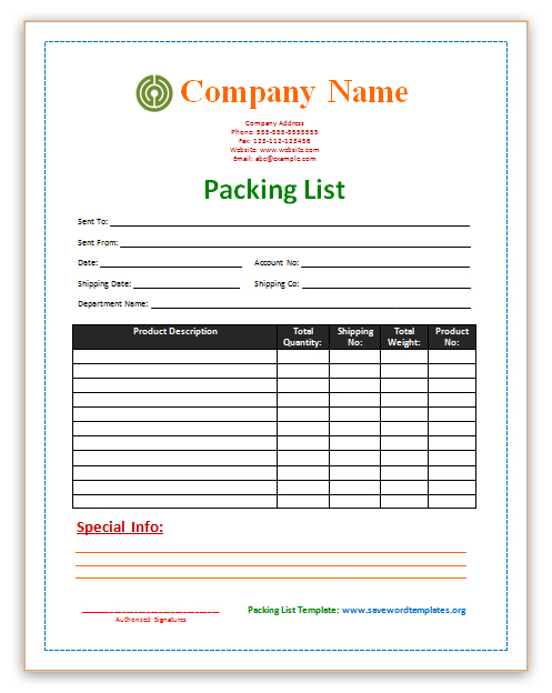 Packing List Template Template Business