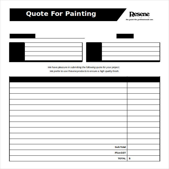 Painting Estimate Template Template Business