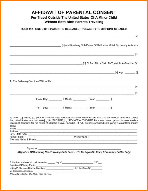 Parental Consent Form Template Business Child Travel Consent Form