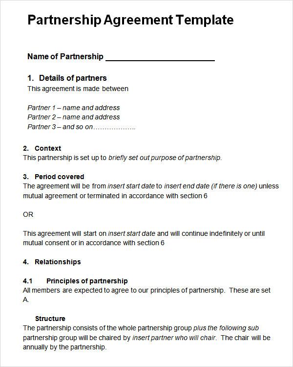 Partnership Agreement Template Template Business