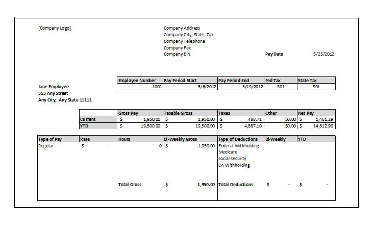 Paycheck Stub Template Template Business
