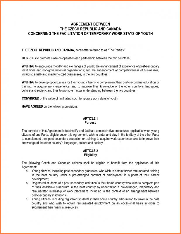 Payment Agreement Letter Between Two Parties Template Business - letter of agreement between two parties