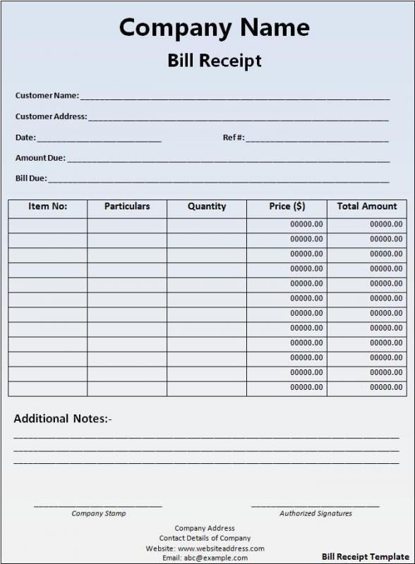 Payment Receipt Sample Template Business