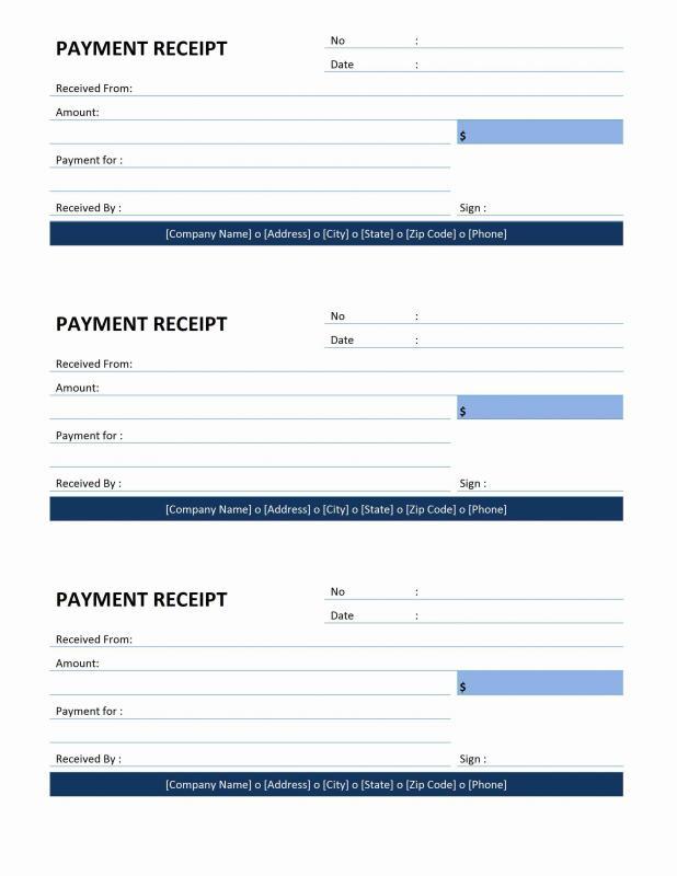 Payment Receipt Template Template Business