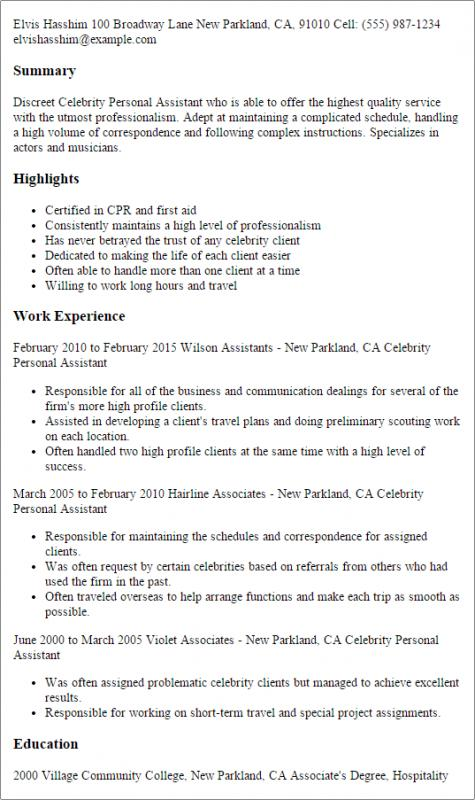 Personal Assistant Resume Template Business