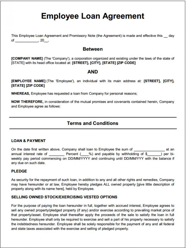 Personal Loan Contract Template Business - interest free loan agreement