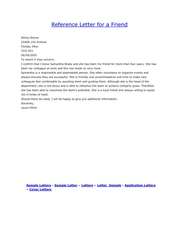 Personal Reference Letter For A Friend Template Business