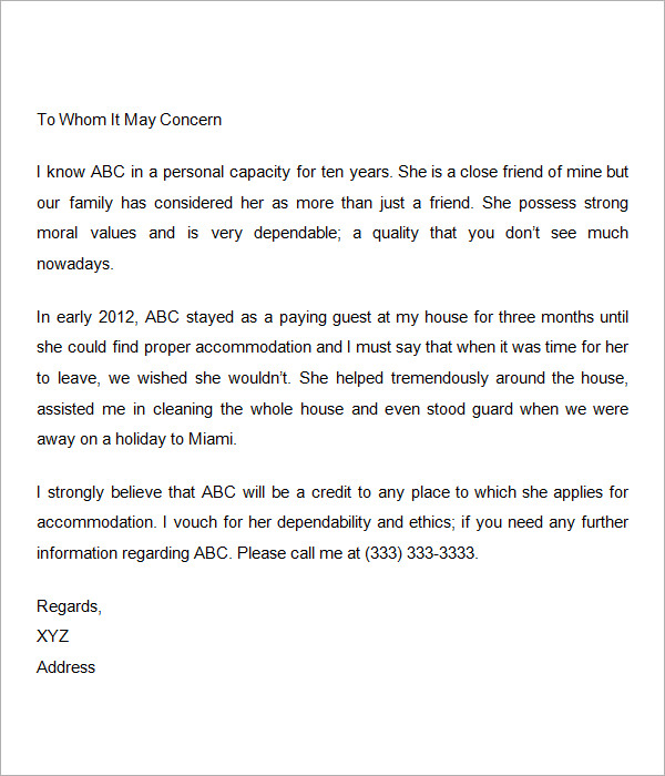 Personal Reference Letter Template Word Template Business