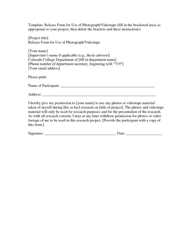 photographic release form template - Romeolandinez - photography release form