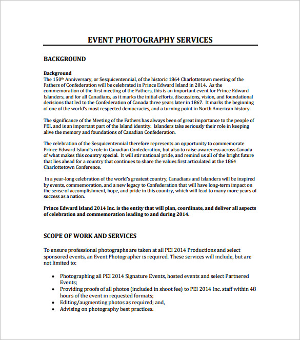 Photography Proposal Template Template Business - event proposal sample