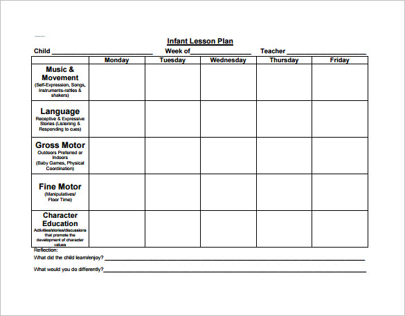 Blank Lesson Plan Template For Toddlers - Blank Lesson Plan Template