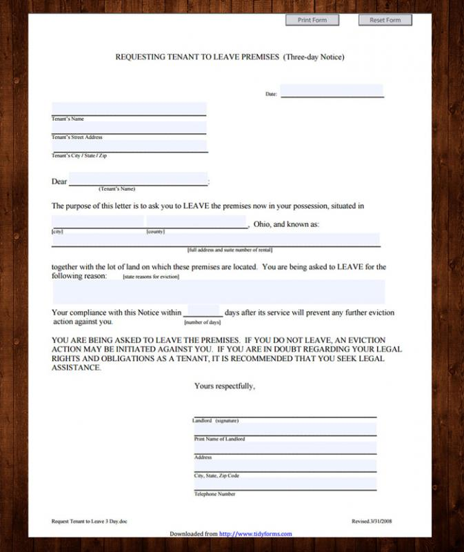 Printable Eviction Notice Template Business - free printable eviction notices