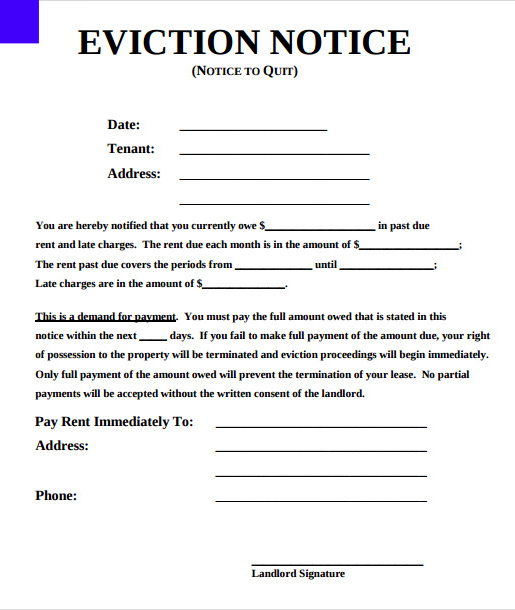 rental eviction notice form - Deanroutechoice - eviction letter to tenant