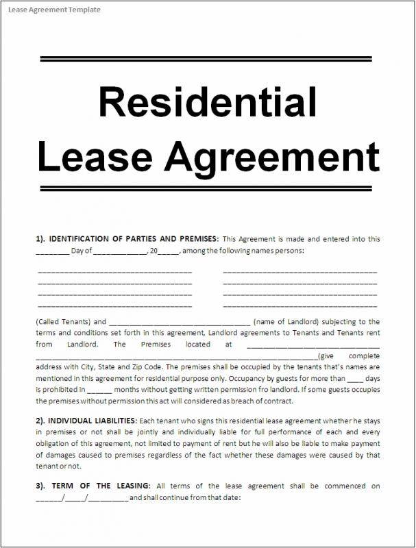 Printable Lease Agreement Template Business - printable rental agreement