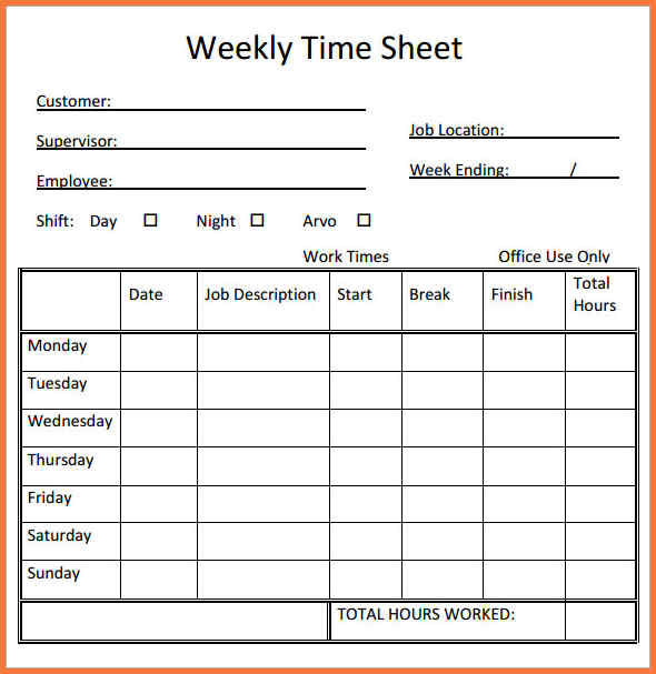 Printable Weekly Time Sheets Template Business