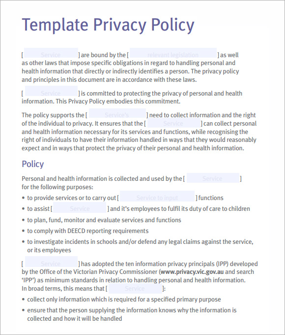 Privacy Policy Example Template Business - privacy notice template