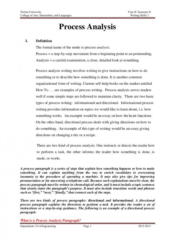 Process Analysis Essay Example Template Business