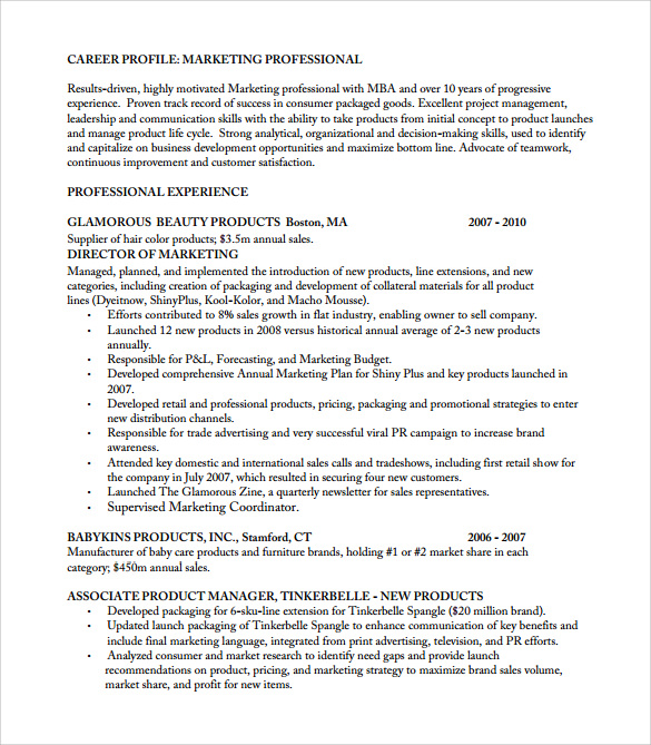 Product Manager Resume Template Business