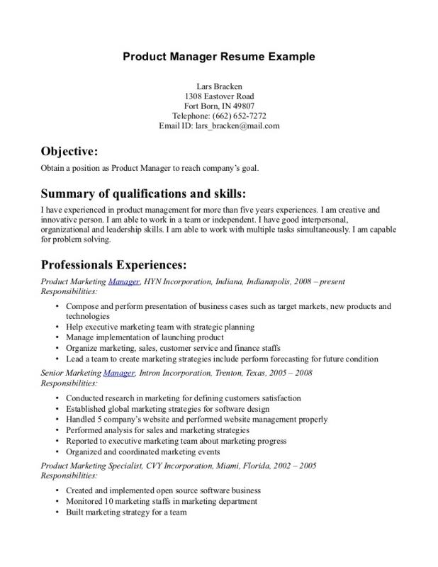 Product Manager Resume Template Business - product manager resume examples
